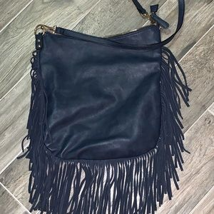 Crossbody navy blue fringed bag